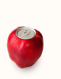 Red apple with a metal lid. Isolated in white Royalty Free Stock Image