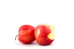 Red apple with missing a bite on white background healthy apple fruit food isolated Stock Image
