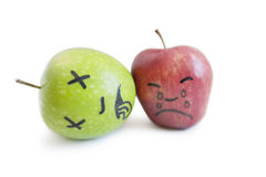 Red apple mourning over death Stock Image