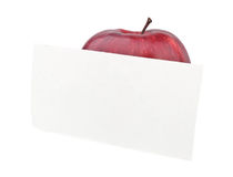 Red apple with a note Royalty Free Stock Photos