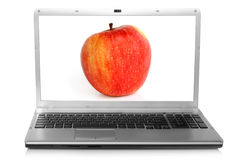 Red apple on notebook screen Stock Images