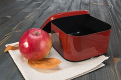 Red apple and a open empty  box for school lunch Royalty Free Stock Photos