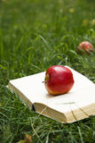 Red apple on opened book Stock Photo