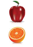 Red apple and orange Royalty Free Stock Photo