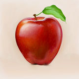 Red Apple Painting. Hyper realistic digital painting of a red apple Royalty Free Stock Photo
