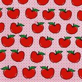 Red apple pattern background drawing illustration white background Royalty Free Stock Photos
