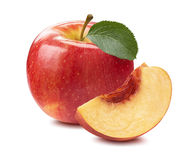 Red apple peach slice isolated on white background Stock Photography