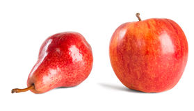 Red apple and pear. Royalty Free Stock Photos