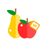 Red apple and pear vector illustration. Stock Photos