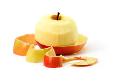 Red apple and peel royalty free stock images
