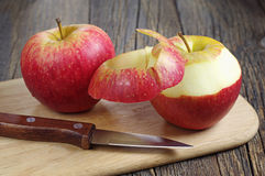 Red apple peeled Stock Photography