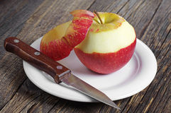 Red apple peeled Stock Photos