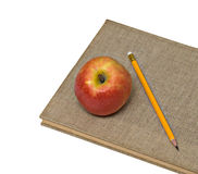 Red apple and pencil on books Stock Images