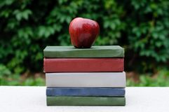 Red apple on a pile of books Stock Photos