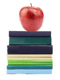 Red apple on pile of books Royalty Free Stock Photography
