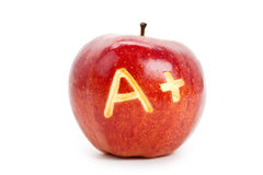 Red apple and A Plus sign Royalty Free Stock Images