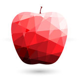 Red apple polygonal abstract on white backgrounds Vector illustr Royalty Free Stock Image