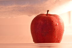Red apple in refrigerator ice box Stock Photo