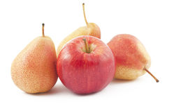 Red apple and ripe pears on white. Background Royalty Free Stock Photos
