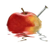 Red apple and the. Isolated on a white background in water royalty free stock photos