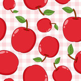 Red Apple Seamless Pattern on Tablecloth Stock Photography