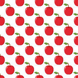 Red Apple Seamless Pattern on White Stock Image