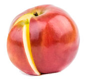Red apple with  section Stock Photo