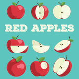 Red apple set.Hand drawn apples. Stock Photo