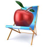 Red apple sitting in beach chair fresh healthy vegetarian diet Royalty Free Stock Image