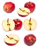 Red apple and slice in half on white background. Photo of Red Apple cut in half on white background Royalty Free Stock Image