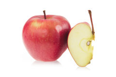 Red apple and a slice of red apple Royalty Free Stock Photography