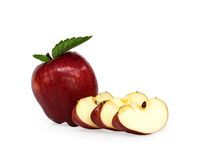 Red apple sliced. On white background Stock Images