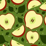 Seamless fruit pattern with apples and leaves vector illustration