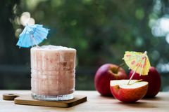 Red apple smoothie. Healthy lifestyle concept royalty free stock image