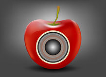 Red apple with speaker Stock Photography