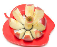 Red apple and special knife. For cutting on segments stock photography