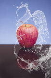 Red apple with splashing water on a black and blue background Royalty Free Stock Photography