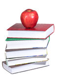 Red apple with stack of books Royalty Free Stock Photography