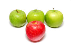 A red apple standing out Royalty Free Stock Photos