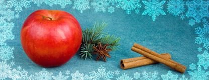 Red Apple with star anise, cinnamon and fir on velvet background. royalty free stock image