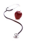 Red Apple and a Stethescope Stock Photo
