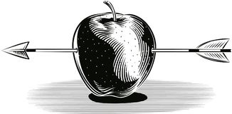 Apple struck by an arrow. Red apple struck by an arrow Royalty Free Stock Image