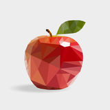 Red apple in the style of triangulation on a white background vector illustration
