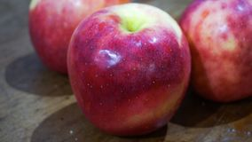 Red apple. In table royalty free stock photography