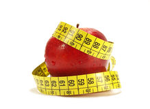 Red apple tape measure Stock Photo