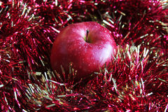 Red apple and tinsel Stock Photography