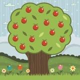 Red apple tree Stock Photo