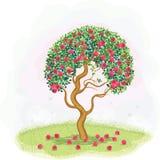 Red apple tree stock illustration