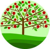 Red apple tree on green background Royalty Free Stock Photo