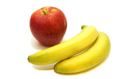 Red apple and two bananas Stock Image
